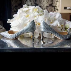 Jimmy Choo 60 mm silver heels